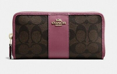 Coach F54630 Signature PVC Leather Accordion Zip Wallet in Brown/Rouge $250