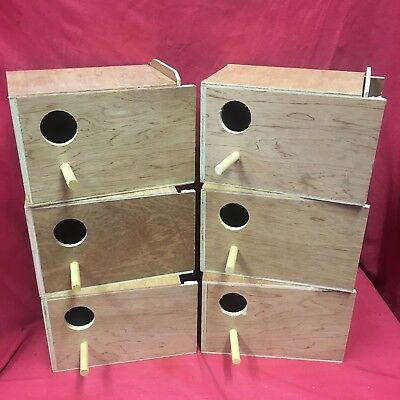 6x Breeding Wooden Nest Box Nesting Roost Bird Lovebird Canary Finch Budgie 9x6""
