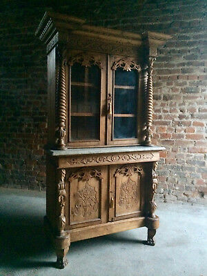 Stunning Antique Display Cabinet Glazed Bookcase Marble Heavily Carved Colonial