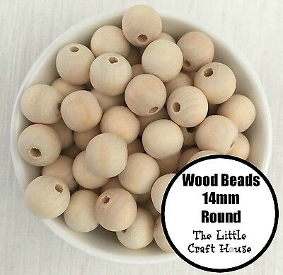 50 x 14mm Round Wood Spacer Bead Natural Unfinished Wooden Beads Ball Teething