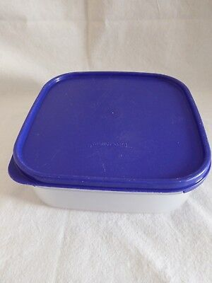 Tupperware Square 1.2 Litre Storage Container- Clear With Blue Lid