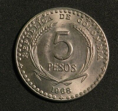 1968 Republica De Colombia 5 Pesos Beautiful Coin