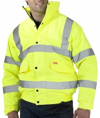 b seen hi viz visibility constructor bomber jacket waterproof medium 37-39 inch