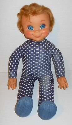 1960s Mattel Mrs Beasley Doll Oddity Dark Blue Dotted Body w/ Denim Feet