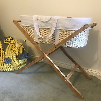 Born With Style Baby Moses Basket Bassinet & Stand RRP$189 immaculate condition