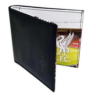 Liverpool Football Club Official Black Leather Wallet With Panoramic Stadium Cre
