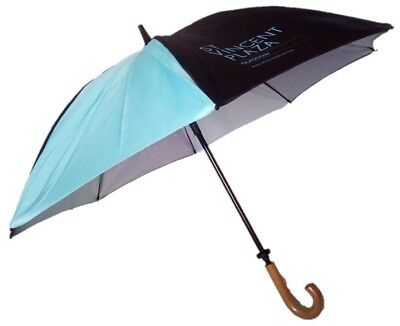 Double Canopy Golf Umbrella Windproof Fibreglass Ribs & Wooden Crook Handle Auto