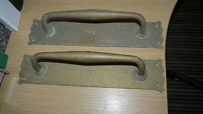 Superb Pair Of Reclaimed Edwardian Brass Door Handles !!