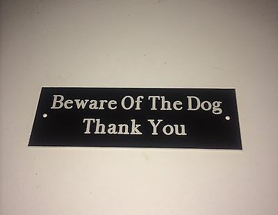 Engraved Beware Of The Dog Gate Sign x2