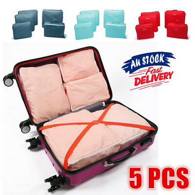 5Pcs Clothes Pouch Travel Packing Cube Storage Luggage Suitcase Organizer Bags