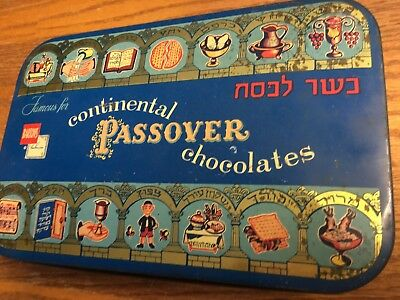 1953 Bartons Brooklyn New York Continental Passover Chocolate Tin Newark Detroit