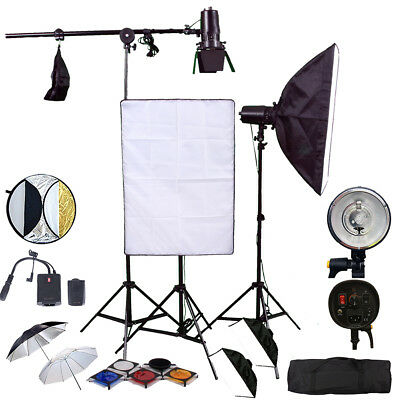 3X150W Flash Strobe Kit Pro Photo Studio Flash Lighting Softbox Honeycomb Transm