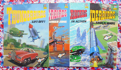 4 Thunderbirds books (Shockwave / In Action / Danger Zone / Lift Off!) from 1992