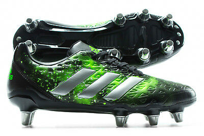 adidas Mens Kakari Elite Soft Ground Rugby Boots Sports Shoes Studs Black