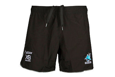 X Blades Mens Cronulla Sharks NRL 2018 Rugby Training Shorts Black Activewear