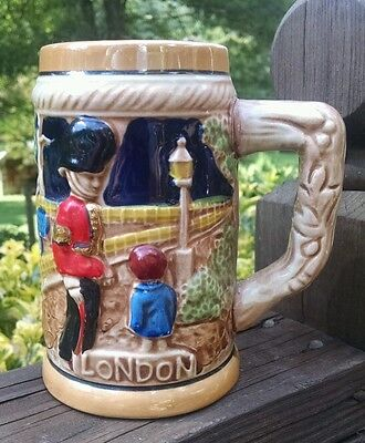 LONDON Beer STEIN Mug ROYAL GUARD Beefeater Soldier BUCKINGHAM PALACE