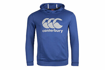 Canterbury Mens Vapodri Logo Hooded Rugby Sweat Blue Top Sports Training