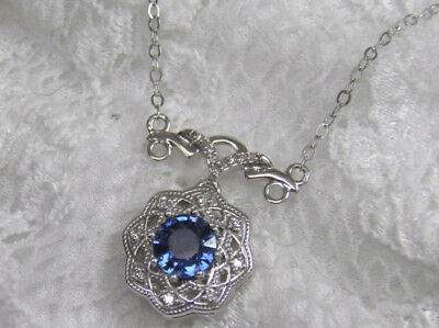 New Antique Style Solid 14Kt Wg Genuine Sapphire Diamond Filigree Deco Necklace