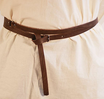 Medieval-Larp-Sca-Re enactment-BROWN LEATHER Wrap Around Belt 20mm WITH BUCKLE