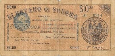 Mexico / Sonora    $10  Pesos   27.8.1913   3rd.  Series   Circulated Banknote