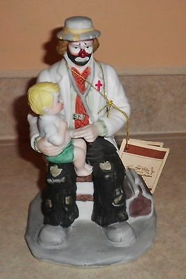 EMMETT KELLY JR. Clown Doctor with Child on Knee by Flambro