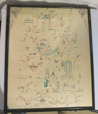 Vtg Antique Large Framed Asian Japan Hand Embroidery Silk on Silk Garden Sampler