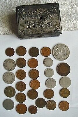 LOT OF 28 SILVER MIXED CANADIAN  COINS 1914  Plus vintage box