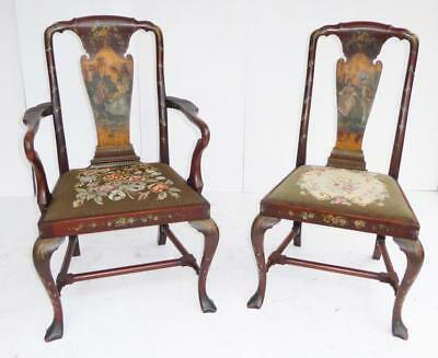 Pair of Queen Anne Style Painted Chairs