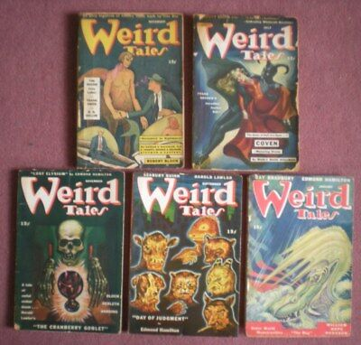 WEIRD TALES five issues from 1940s good / very good condition,MARGARET BRUNDAGE
