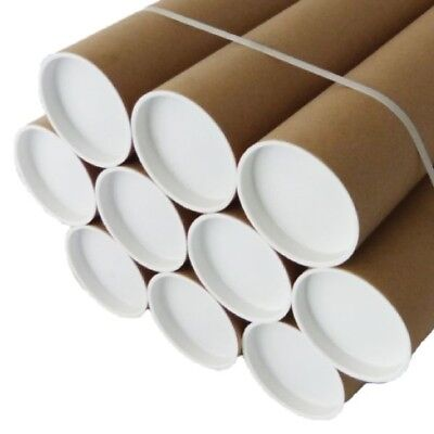 "POSTAL CARDBOARD STRONG TUBES WITH ENDS CAPS A0 A1 A2 A3/A4 x 76MM  3"" QUALITY"