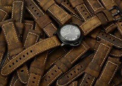 NEW Genuine Assolutamente Leather Watch Band Strap Black Buckle For Panerai 24MM