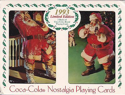 Coca-Cola Playing Cards 2 Decks Collectible Tin Santa Claus Coke 1993