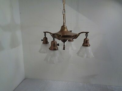 Vintage Antique 4 Light Arm Hanging Pan Lamp Chandelier Brass Working Etched