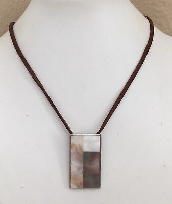 Lia Sophia Pendant Necklace Abalone Shell Mother Of Pearl Mosaic Inlay
