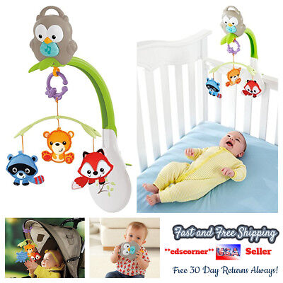 Baby Crib Toys Musical Mobile Play Sleep Fisher-Price Woodland Friends 3-in-1