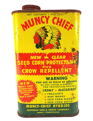 Antique Pesticide Advertising Tin Muncy Chief seed Corn Crow Repellent vtg PA