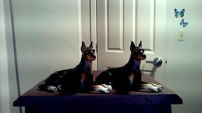 Set Of (2)Orig Vintage Doberman Lying Dogs Porcelain Statue Crouching Figurine
