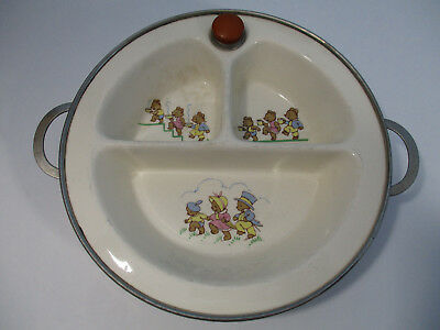 Vintage Excello Divided Ceramic Baby Warming Dish 3 Bears Motif
