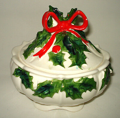Vintage Lefton China White Holly & Berry CERAMIC CHRISTMAS CANDY DISH LID Japan