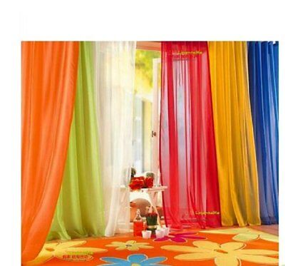 Elegant Solid Sheer Panel Window Curtain - All sizes - All colors - 2 Panels