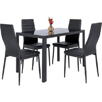 Modern Kitchen Dining Table Rectangle GlassTop Faux Leather Chair Dinette Black