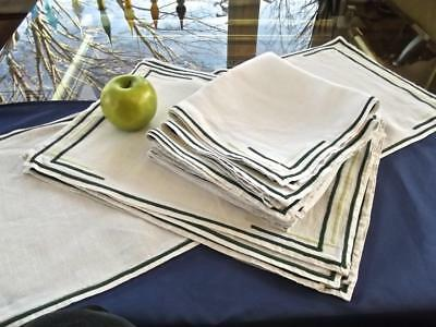 17pcs VTG St Patrick's Breakfast Set Homespun Irish Linen Green Geometric Accent