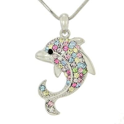 "Dolphin Made With Swarovski Crystal Multi Color Ocean Sea Pendant 18"" Chain"