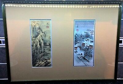 Pair of Antique Japanese Woodblock Prints, Signed and Stamped, Late 19th century