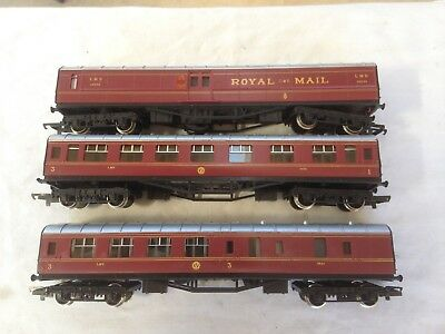 3 Hornby Maroon LMS passenger coaches.