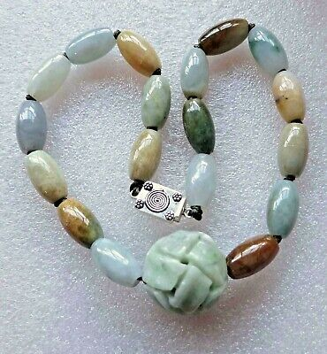 VINTAGE ANTIQUE CHINESE CARVED QILIN JADE + JADEITE BEADS STER NECKLACE 140gm