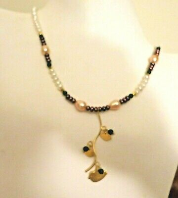 VINTAGE ARTIST SIGNED 24kt GOLD STERLING BIRDS PEARL JADE ADJ LAYERING NECKLACE
