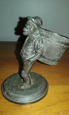 Antique James W. Tufts Triple Plate Ape Carrying Barrel Figural toothpick holder