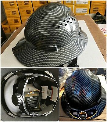 Hydro Dipped Black Full Brim Hard Hat with Fas-trac Suspension Helmet