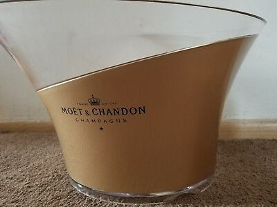 Moet And Chandon Clear& Gold Large Plastic Ice Bucket Holds 2 Bottles